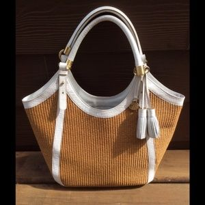 Brahmin White Leather and woven straw bag